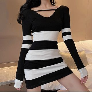Jornica - Long-Sleeve Striped Mini Bodycon Dress