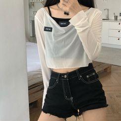 Amardeep - Long-Sleeve Sheer T-Shirt / Camisole