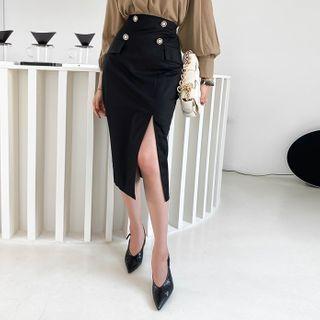 DABAGIRL - Button-Accent Midi Pencil Skirt
