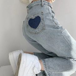 IndiGirl - Heart Embroidered Straight Leg Jeans