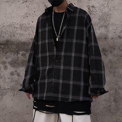 Porstina - 長袖格子寬鬆襯衫
