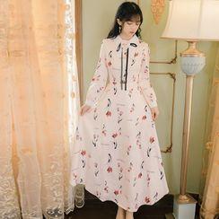 Cedar Smile - Long-Sleeve Maxi Floral A-Line Dress