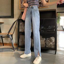Sisyphi - Slit Washed Straight Leg Jeans