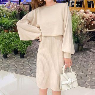 Kotoba - 套装: 气球袖短款毛衣 + 罗纹针织背心裙