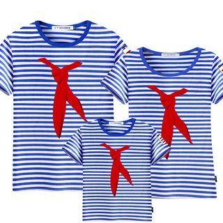 D-SEVEN - Family Matching Short-Sleeve Striped T-Shirt
