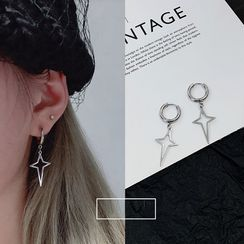 PANGU - Cross Accented Hoop Earrings