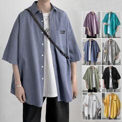 JUN.LEE(ジュンリー) - Plain Over-Sized Short Sleeve Shirt