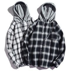 Rampo - Long-Sleeve Hooded Plaid Shirt