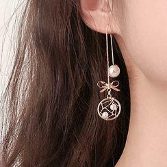Hansha - 925 Sterling Silver Faux Pearl Dangle Earring