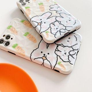 Mobby - Rabbit & Carrot Print Phone Case - iPhone 11 Pro Max / 11 Pro / 11 / XS Max / XS / XR / X / 8 / 8 Plus / 7 / 7 Plus / 6s / 6s Plus