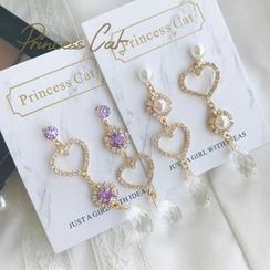 Princess Cat - Non-Matching Rhinestone Heart Drop Earrings