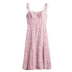 AMeow - Floral Strappy Midi A-line Dress