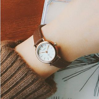 Jikan - Faux Leather Strap Round Dial Watch