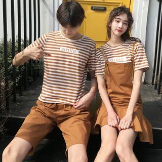 Azure(アズール) - Couple Matching Short-Sleeve Striped T-Shirt / Mini A-Line Jumper Dress / Shorts