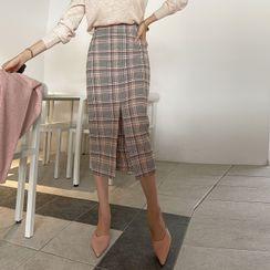 DABAGIRL(ダバガール) - Slit-Front Plaid Midi Pencil Skirt