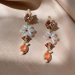 Ticoo - Faux Crystal Alloy Dangle Earring