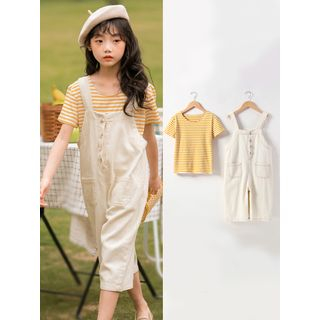 Meroboz - Kids Set: Short-Sleeve Striped T-Shirt + Stitched Trim Cargo Wide-Leg Dungaree