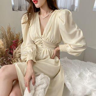 DABAGIRL - Button-Through Long Crepe Dress