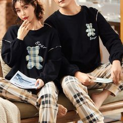 Jeony - Couple Matching Loungewear Set : Long-Sleeve Bear Print Top + Pants