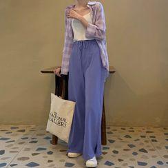Ashlee - Plaid Shirt / High-Waist Wide-Leg Pants