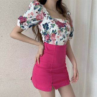 Ashlee - Floral Print Elbow-Sleeve Blouse / Mini Pencil Skirt