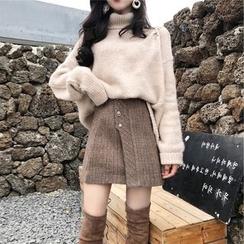 Apotheosis - Set: Turtleneck Sweater + Plaid A-Line Mini Skirt
