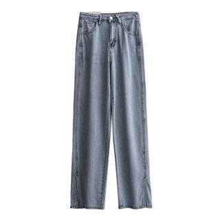 Tomato Shop - 高腰水洗开衩直筒牛仔裤