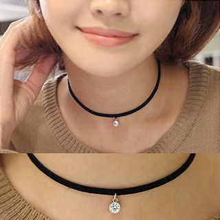 Miss21 Korea - Faux Leather Pendant Choker (2 Designs)