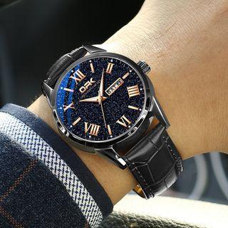Tenri - Faux-Leather  Strap Watch