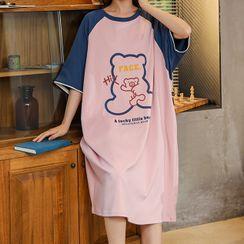 Lion Sniff - Short-Sleeve Bear Print Loungewear Dress