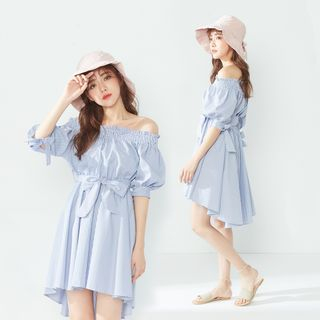 BAIMOMO - Elbow-Sleeve Striped A-Line High-Low Dress