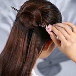 Gangnam(ガンナム) - Retro Flower Wooden Hair Stick