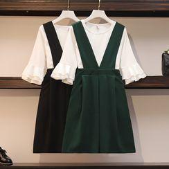 Sugar Town - Set: Bell-Sleeve T-Shirt + A-Line Jumper Skirt