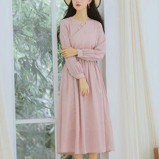 chome - Long-Sleeve Elastic-Waist Dress