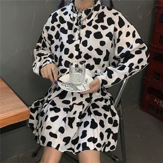 RONIN - Long-Sleeve Milk Cow Print Shirt / Mini Pleated Skirt / Crossbody Bag