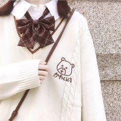Snow Goose - 纯色衬衫 / 格子蝴蝶结领 / 小熊刺绣针织马甲 / 毛衣 / 套装