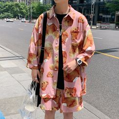 Andrei - 套装:中袖熊印花衬衫 + 短裤