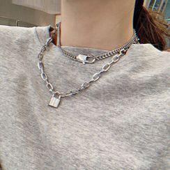 True Glam - 合金掛鎖吊墜多層貼脖項鏈