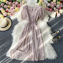 Yearnin - Tie-Waist Short-Sleeve Floral Print Chiffon Dress