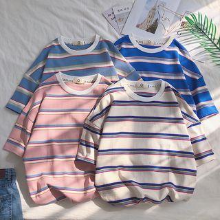 KERB - Elbow-Sleeve Striped T-Shirt
