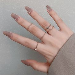 LIVSIA - Set of 5: Alloy Rings (Assorted Designs)