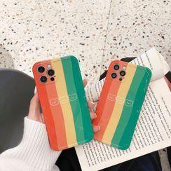 Surono - Bear Print Striped  Phone Case - iPhone 12 Pro Max / 12 Pro / 12 / 12 mini / 11 Pro Max / 11 Pro / 11 / SE / XS Max / XS / XR / X / SE 2 / 8 / 8 Plus / 7 / 7 Plus