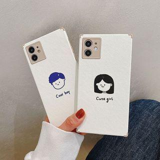 Kodato - Couple Matching Cartoon Print Phone Case - iPhone 12 Pro Max / 12 Pro / 12 / 12 mini / 11 Pro Max / 11 Pro / 11 / SE / XS Max / XS / XR / X / SE 2 / 8 / 8 Plus / 7 / 7 Plus