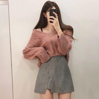 Coris - Cable-Knit V-Neck Sweater / Mini A-Line Skirt