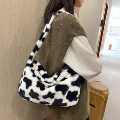 Tiff - Cow Print Furry Shoulder Bag