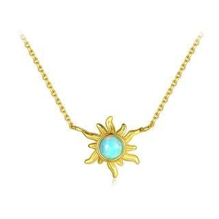 BELEC - 925 Sterling Silver Plated Gold Fashion and Elegant Sunflower Necklace with Blue Imitation Opal