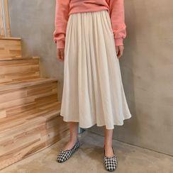 CHERRYKOKO - Band-Waist Long Full Skirt