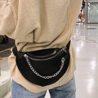 Diamante - Faux Leather Chain-Detail Fanny Pack