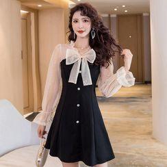 Tidel - Bow-Neck Mesh Panel Mini A-Line Dress