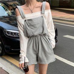 Newkoou - Long-Sleeve T-Shirt / Wide-Leg Jumper Shorts